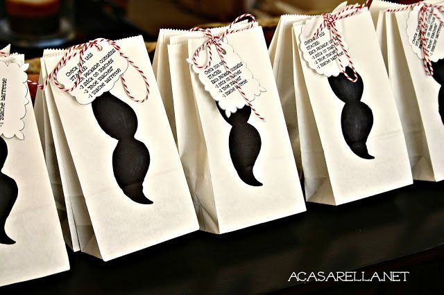 Mustache Party Favor Bags! Can Do Muah One for Girls.