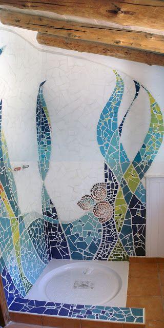 Mosaic shower wall #