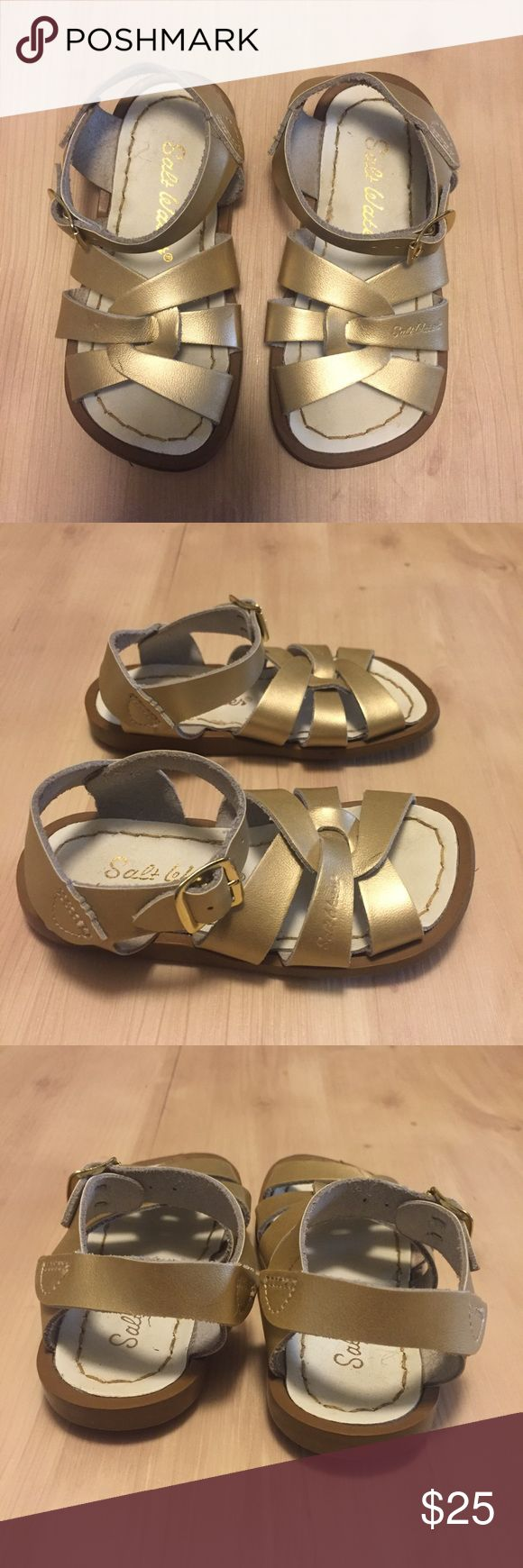 Saltwater Sandals Gold Toddler Sz 7 Saltwater Sandals Toddler Sz 7 Gold worn once selling at Nordstrom for $39 and it seems they never go on sale . My daughter has had 3 pairs of these in different colors through out her 19 years 💕and of course I wanted them as a little girl 😊maybe I had them ...let's see if my Mom reads this and comments 😉great pair of sandals buy them now off season , for Vacay or maybe you are lucky enough to live in a warmer climate  in the winter . Salt Water Sandals…