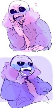 HAPPY BLUSHY SMILING SANS!! *slams table* AHHH!!! Let him be happy please! *gross sobbing*I really wanted to see Sans smiling in Frisk's perspective. You know, because he's always...