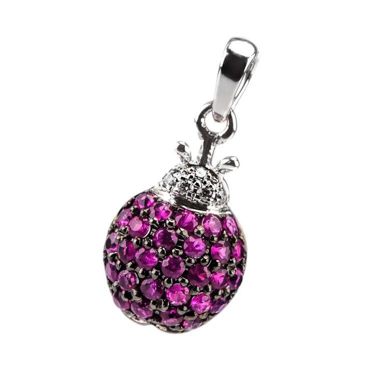 Pandantiv diamante si rubine DPGV00054 ‐ Bijuteria Teilor