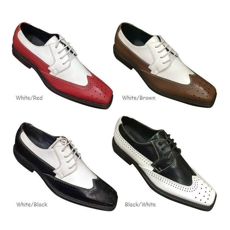 Mens' 2 tone Color Wing Tip Oxford High Quality Man-made Leather Dress Shoes by Fortino Landi. lace up. It's fast and secure. Material: Man-made leather ( PU leather). Color: White/Red, White/Black, Black/White, White/Brown. | eBay!