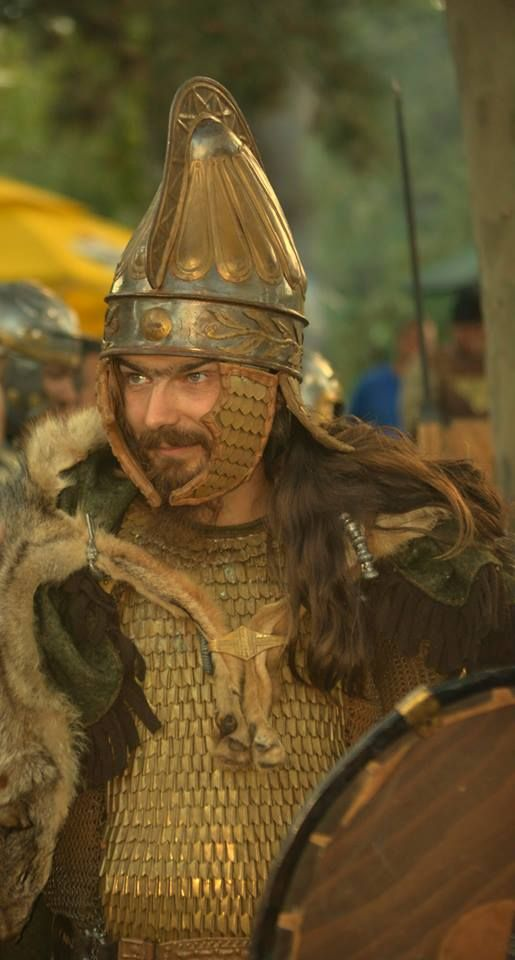Dacian re-enactor in scale armour.