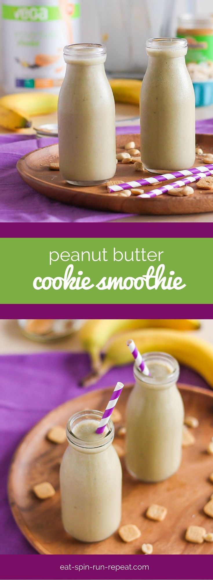 Were soft baked, chewy-centred peanut butter cookies a memory from your childhood? They were certainly one of mine, and this Peanut Butter Cookie Smoothie is a healthy (yet just as delicious) reminder! It's vegan, gluten-free, soy-free and loaded with plant-based protein thanks to @vegateam Vega One or Vega Essentials