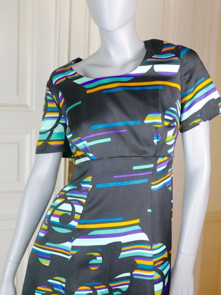 European Vintage: Size 10 US 1960s Long Dress Black /& Turquoise Abstract Pattern 14 UK