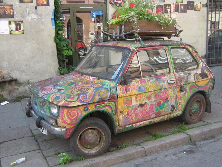 """Colorful """"mały fiat"""" in Kraków."""