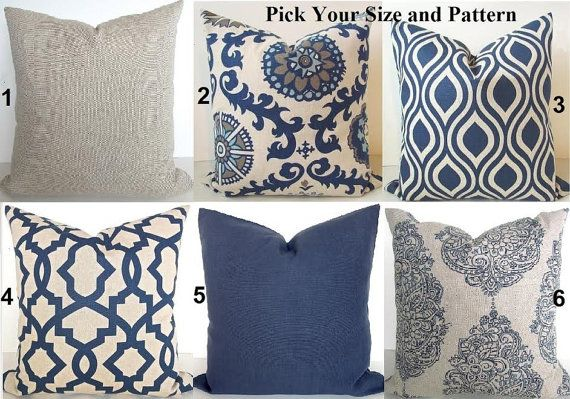 THROW PILLOWS  Navy Blue Throw Pillow Covers by SayItWithPillows