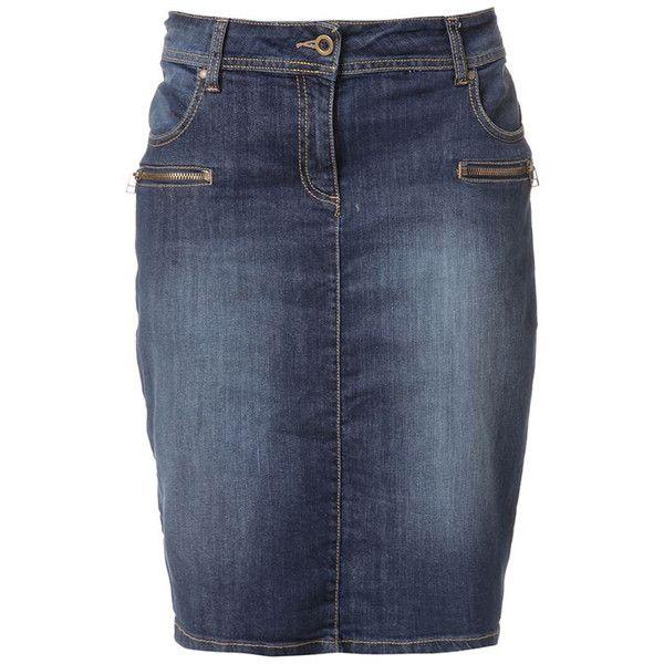 RAXEVSKY CARMELITA Denim Pencil Skirt ($67) ❤ liked on Polyvore featuring skirts, bottoms, faldas, blue denim skirt, embellished pencil skirt, pocket skirt, knee length denim pencil skirt and embellished skirts