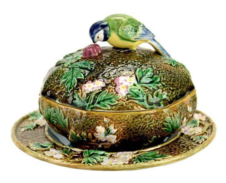 Very Rare Majolica Bird Finial Rustic Butter Dish. George Jones, England