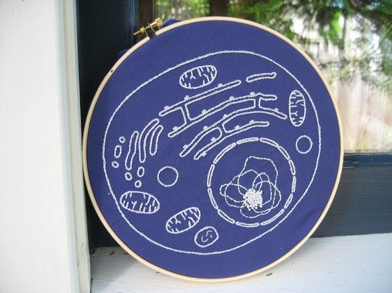 DIY Embroidery Kit, Cell Biology Blueprint, glow in the dark thread, Science art on Etsy, $24.99