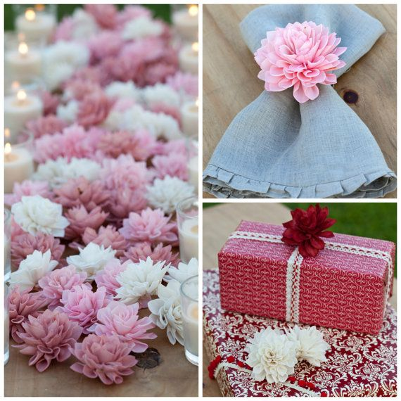 10 3 Blush Wooden Flowers Wedding Decorations by companyfortytwo