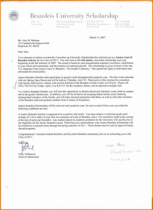 Scholarship Letter Sample Scholarship Thank You Letter