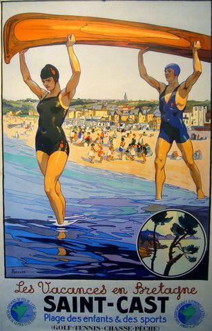 Saint-Cast Bretagne / Brittany vintage travel poster ~ 'Les vacances en Bretagne' ~ 'Plage des enfants et des sports' ~ 'Golf, tennis, chasse, pèche'