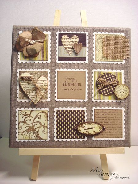 handmade card ... scalloped squares ... neutral colors ... lovely ...