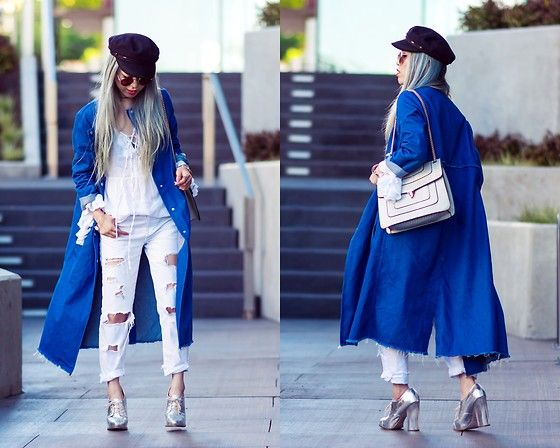Get this look: http://lb.nu/look/8259075  More looks by Aika Y: http://lb.nu/aikastyle  Items in this look:  Isabel Marant Navy Hat, Zara Long Denim Coat, Mellow World Crossbody Bag, Forever 21 Bell Sleeve Top, Zara White Ripped Boyfriend Jeans, Asos Silver Shoes   #casual #chic #street #denimjacket #denimcoat #zara #forever21 #isabelmarant #hat