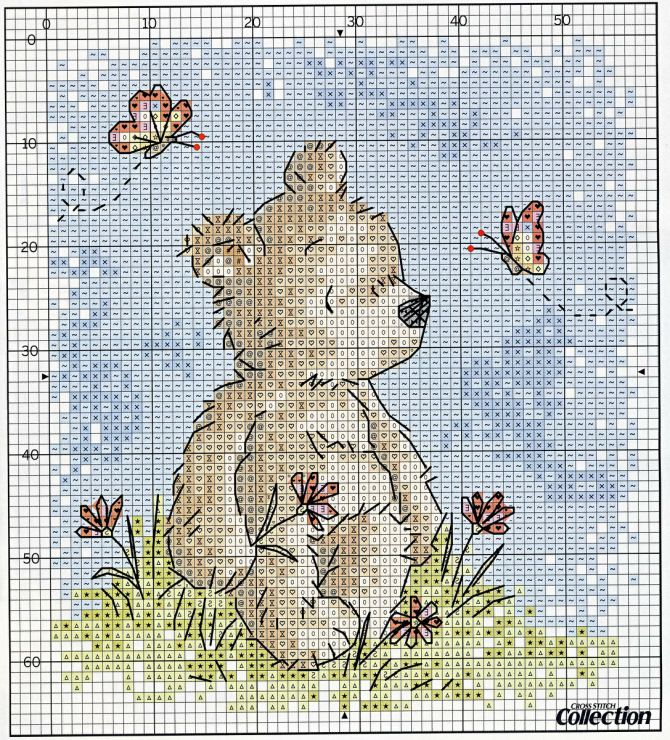 Cross-stitch Teddy Bear... no colour chart available, just use the pattern chart as your colour guide...