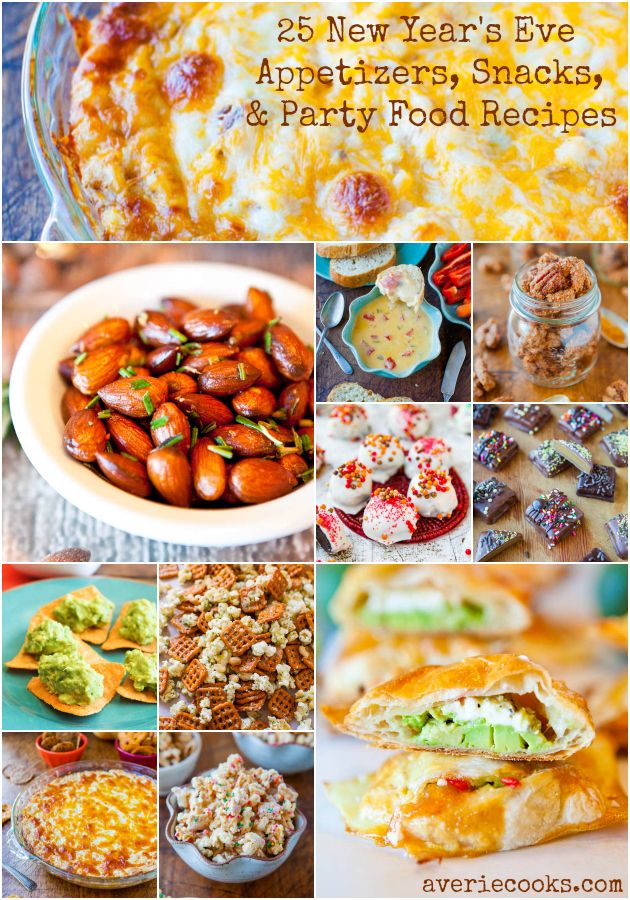25 New Year's Eve Appetizers, Snacks, and Party Food Recipes - Easy, fuss-free recipes sure to please all your guests! Recipes at averiecooks.com