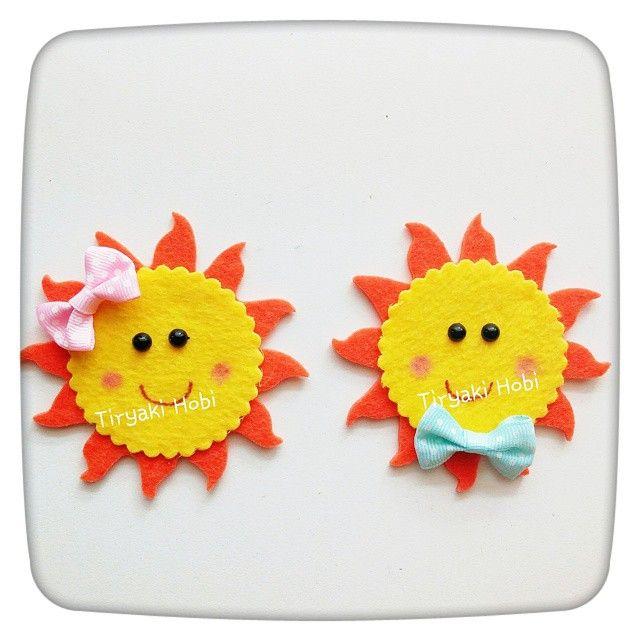 ♥ Tiryaki Hobi ♥: Keçe bebek şekeri  doğumgünü magneti - Güneş  ------felt sun