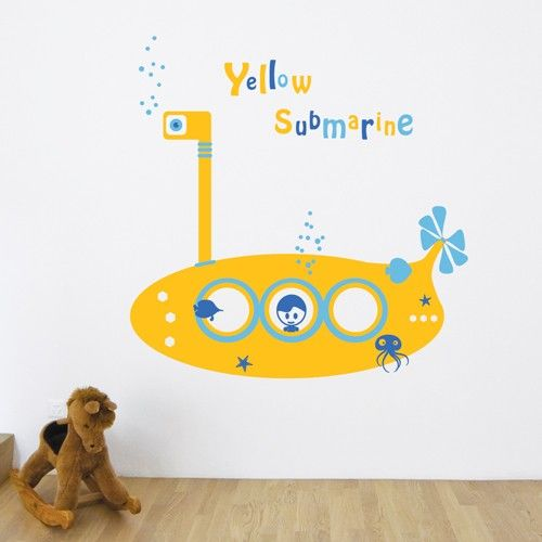 Make your kids' fantasies come true with these colorful yellow submarine wall decals, let your kids explore the underwater world with vinyl wall stickers