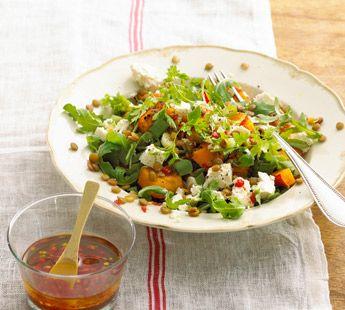 Pompoensalade met feta en linzen - Recept - Jumbo Supermarkten