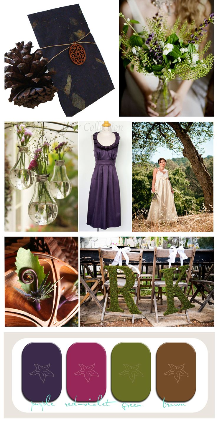 A wedding inspiration board for purple and green fall wedding that is eco friendly and perfect for a Fall Wedding or Rustic wedding.
