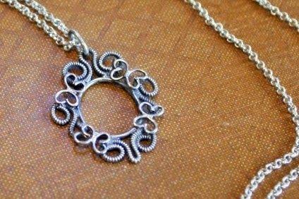 "Small silver filigree pendant ""Butterflies"", made by www.pinterest.com/miiairene"