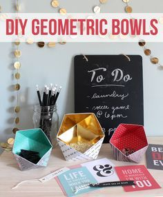 These cute geometric bowls are made of paper! No way! Get the template and instructions to make your own chic storage dishes.