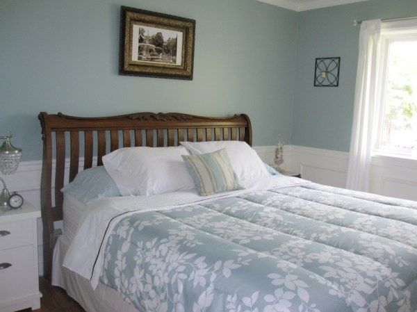 Restoration Hardware Sea Green at Our Humble Abode The light blue walls work beautifully with a variety of finishes such as silver, bold and wood in this elegant bedroom.