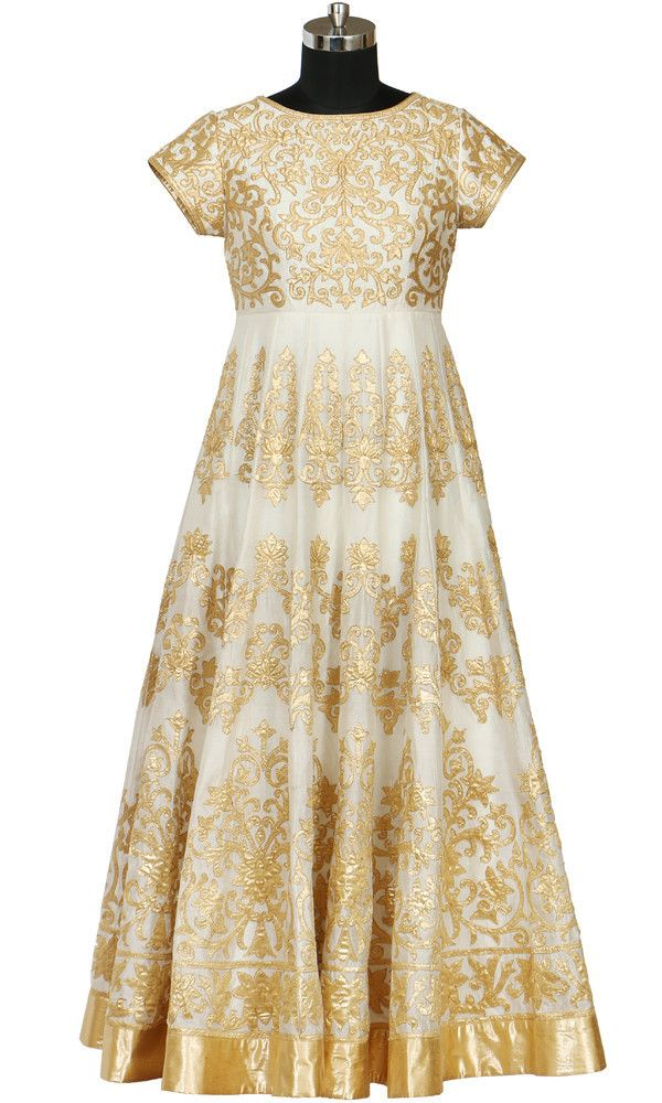 Rohit Bal inspired Ivory & Gold Pattern Gown