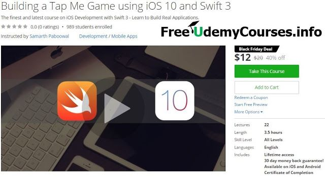 [Udemy #BlackFriday] Building a Tap Me Game using iOS 10 and #Swift 3   About This Course  Published 11/2016English  Course Description  Building iOS 10 Apps has just one GOAL - to make you the best iOS Developer so that you can get you DREAM Job or become a Freelance iOS Developer.  This course will teach you each and every aspect of iOS development both for iPhones and iPads.  This course teaches you about Variables and Constants Conditionals Functions Loops Arrays Dictionaries Optionals…