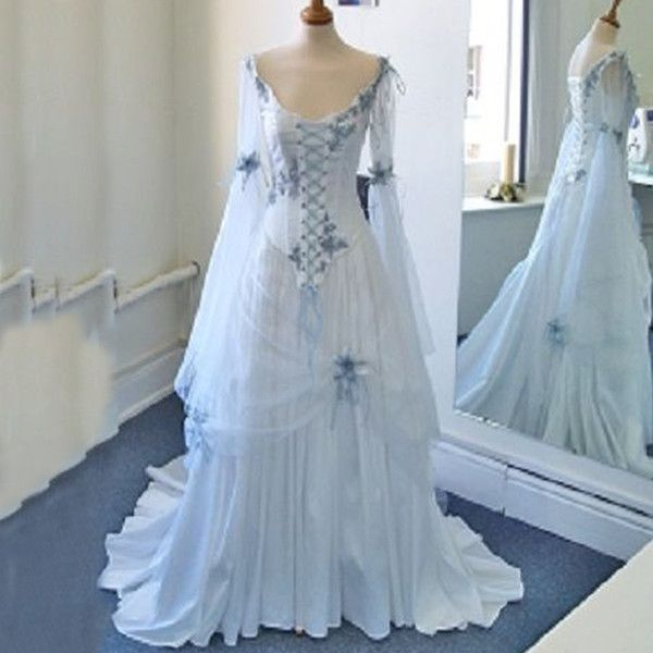 Vintage Celtic Wedding Dresses White and Pale Blue Colorful Medieval Bridal Gowns Scoop Neckline Corset Long Bell Sleeves Appliques Flowers 2018 from weddingfactory, $165.83 | DHgate Mobile