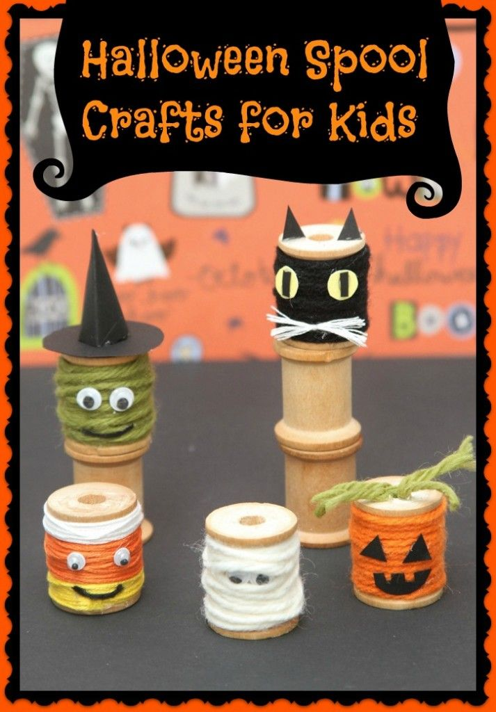 Amazing cute Halloween Spool craft for kids - pumpkin, ghost, witch, cat, and candy corn tutorial