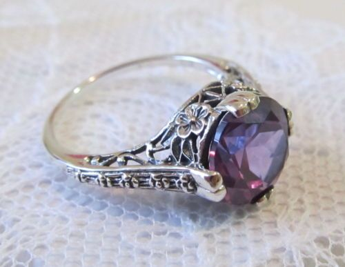 Just to have!  LOOOVE Vintage Art Deco Alexandrite Engagement Ring Sterling Silver Filigree SZ 6