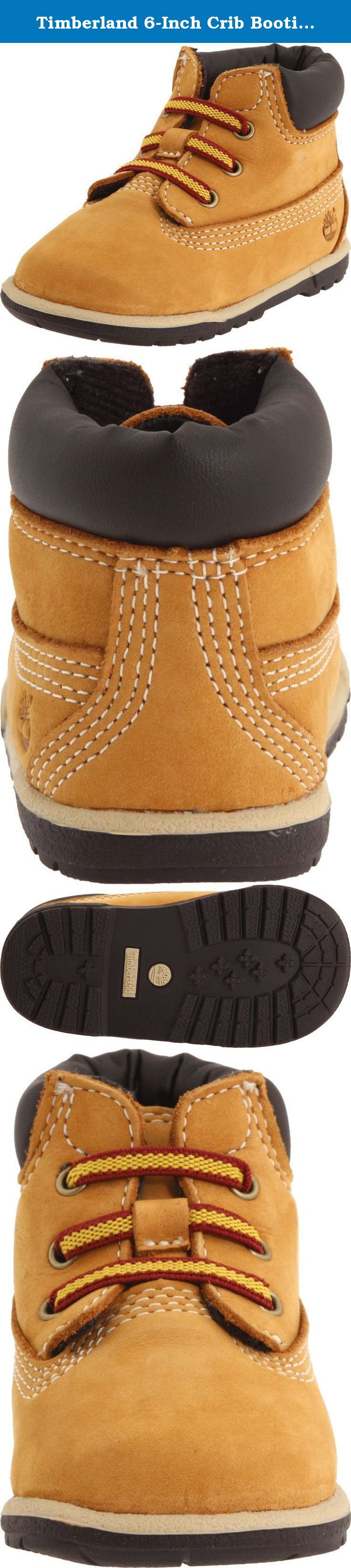 Timberland 6-Inch Crib Bootie (Infant/Toddler),Wheat,1 M US Infant. Stretch elastic laces for easy on and off. Padded collar offers comfort where it counts. Brushed nylon lining and footbed cover keep feet fresh. EVA footbed absorbs shock. Flexible rubber outsole provides.