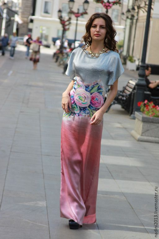 """Купить Платье Батик в пол """"Розы на сером"""" - разноцветный, цветочный, Батик, батик платье"""