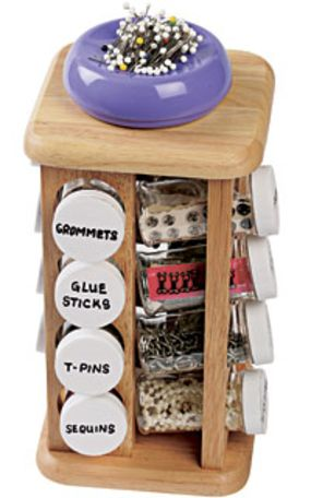 Spice Up Your Notions - Threads Well this is just brilliant - for any little craft items - spice rack or try a Keurig K-cup storage container