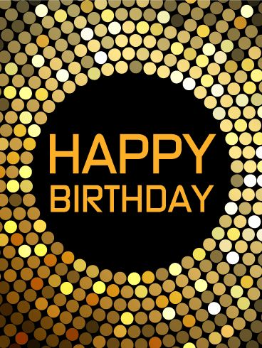 "Let's Dance! Happy Birthday Card. Birthdays are the perfect time for a groovy dance party! This birthday card is the perfect gift for the fun-loving dancers in your life! The gold, white, and brown circles glitter and form a music record on a black background, the perfect accessory for a night of celebration. Say ""Happy Birthday"" and ""Let's dance!"" to the party lover in your life with this awesome birthday card!"