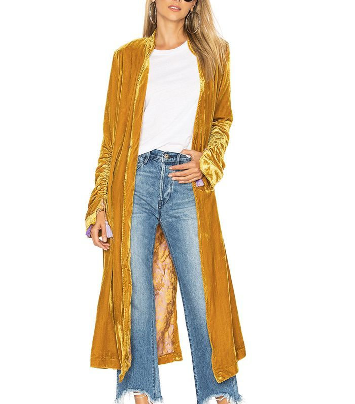 Velvet duster coat.  9 Elegant Wedding Guest Outfit Ideas You Can Always Rely Upon via @WhoWhatWearUK