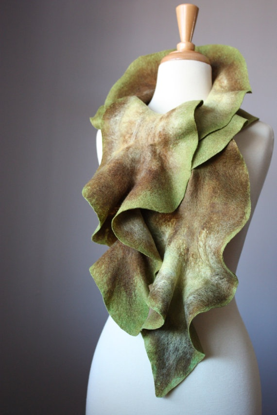 Felted  scarf   wool ruffled Olive Green / by VitalTemptation, $75.00