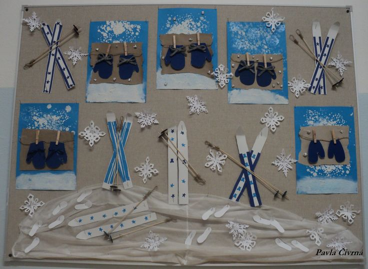 Zimní tvoření - lyže a rukavice (leden 2018)