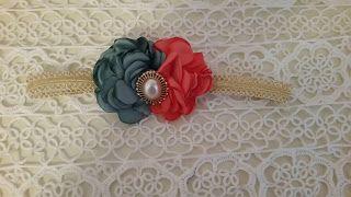 Headbandslatina              : Banda dorada con flores coral y verde