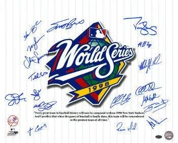 cool Mike Stanton signed New York Yankees 16x20 Photo 1998 World Series Champs Pinstripe Giuliani Quote 18 signatures (CTBL_D17278)