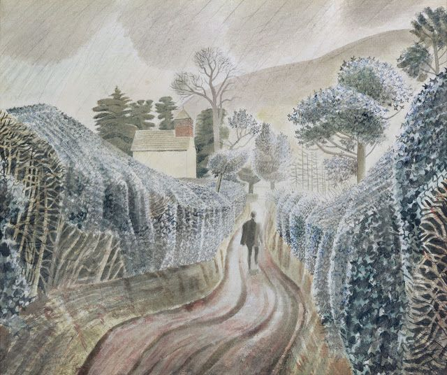 """Wet Afternoon"" by Eric Ravilious, 1938. (This watercolour was painted during Ravilious' stay at Capel-y-ffin in the Black Mountains of Brecknockshire, Wales)"