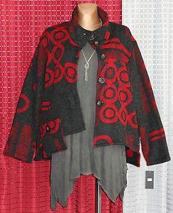 Sarah-Santos-Strickwolle-Jacke-Jacket-Schwarz-Rot-Gr-M-40-42-Lagenlook