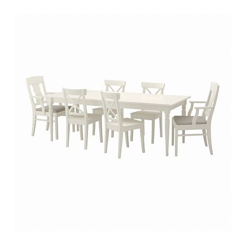 Ingatorp Ingolf Table And 6 Chairs White Nordvalla Beige The