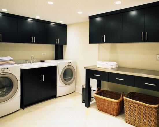 basketsDreams Laundry Room, Small Laundry Room, Black Cabinets, Laundry Room Design, Laundry Rooms, Laundry Room Organic, Folding Tables, Storage Ideas, Laundryroom