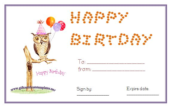 Owl Birthday Gift Certificate Template Pinned By Www.Myowlbarn.Com