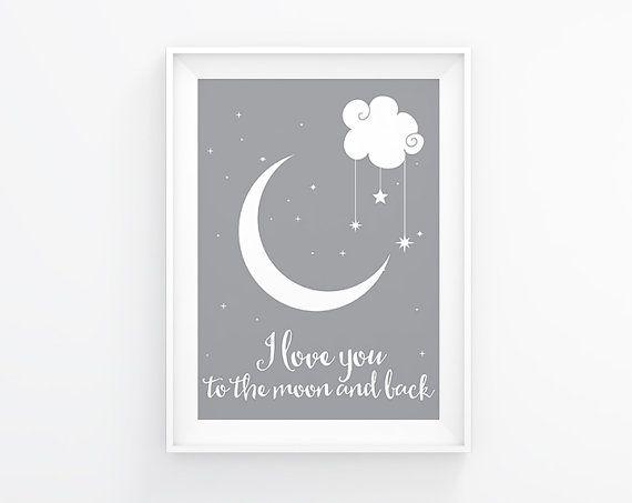 I love you to the moon and back. Printable nursery art