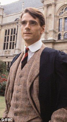 Dapper fellow: Jeremy Irons was similarly attired in tweed when he starred in Brideshead Revisited in 1981