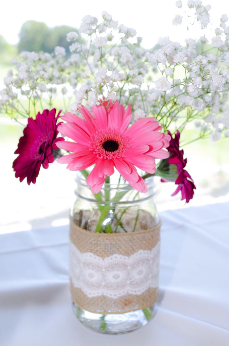 DIY lace and burlap mason jar centerpiece for baby shower